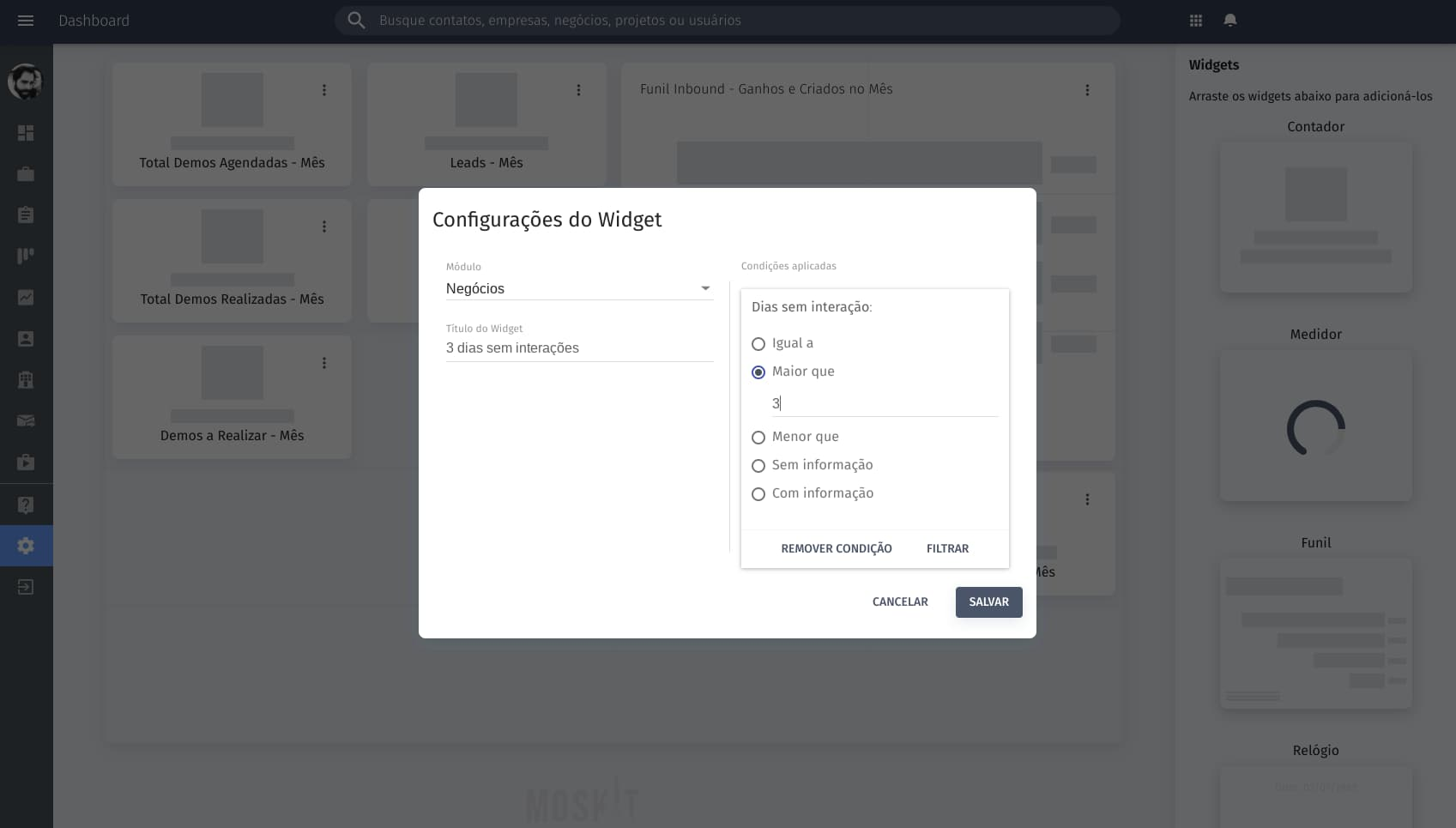 como configurar widget dentro do CRM